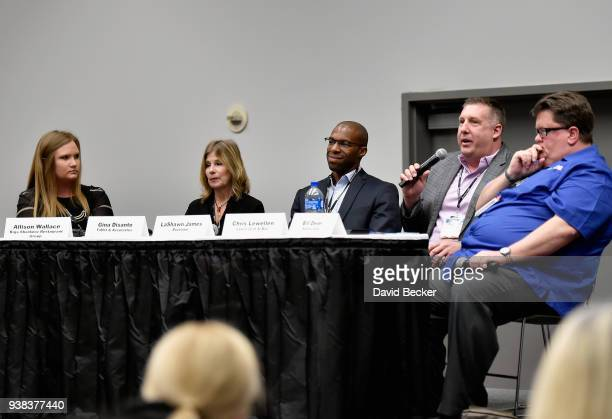 Allison Wallance of Baja Sharkeez Restaurant Group Gina DiSanto of Taffet Associates LaShawn James of Buzztime Chris Lewellen of Lew's Grill Bar and...