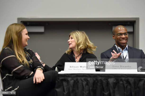 Allison Wallance of Baja Sharkeez Restaurant Group Gina DiSanto of Taffet Associates and LaShawn James of Buzztime speak duirng day one of the 33rd...