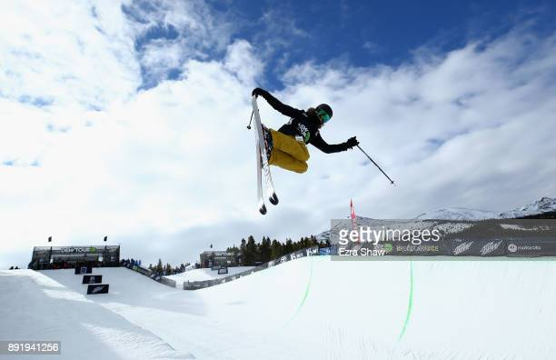 Allison Welsh competes in the women's Ski Superpipe qualification during Day 1 of the Dew Tour on December 13 2017 in Breckenridge Colorado