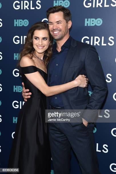 Allison Williams and Andrew Rannells attend The New York Premiere Of The Sixth Final Season Of 'Girls' at Alice Tully Hall Lincoln Center on February...