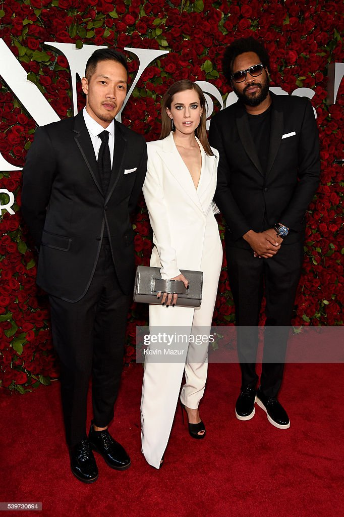 Allison Williams (C) and Dao-Yi Chow and Maxwell Osborne of Public School attend the 70th Annual Tony Awards at The Beacon Theatre on June 12, 2016 in New York City.