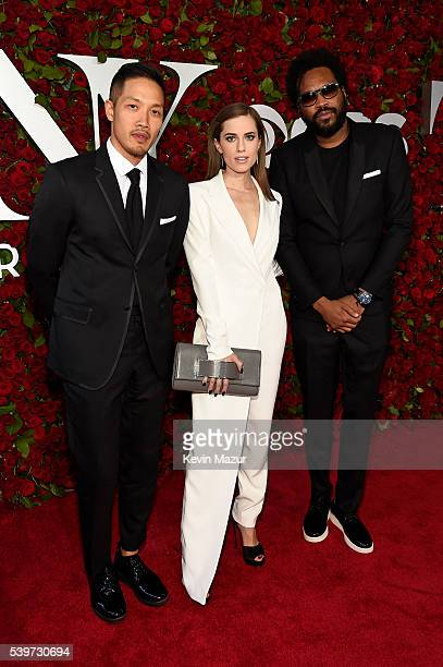 Allison Williams and DaoYi Chow and Maxwell Osborne of Public School attend the 70th Annual Tony Awards at The Beacon Theatre on June 12 2016 in New...