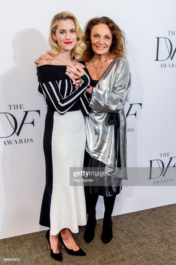 Allison Williams and Diane von Furstenberg attend the 2017 DVF Awards at United Nations on April 6, 2017 in New York City.