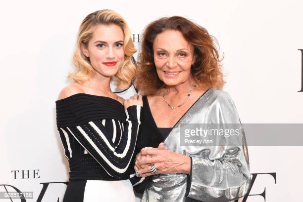 Allison Williams and Diane von Furstenberg attend The 8th Annual DVF Awards at United Nations on April 6 2017 in New York City