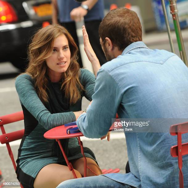 """Allison Williams and Ebon Moss-Bachrach on the set of """"Girls"""" on May 12, 2014 in New York City."""