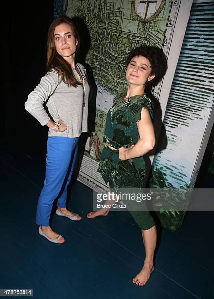 Allison Williams and Melanie Moore pose backstage at the hit musical 'Finding Neverland' on Broadway at The Lunt Fontanne Theater on June 23 2015 in...