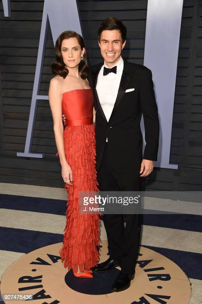 Allison Williams and Ricky Van Veen attend the 2018 Vanity Fair Oscar Party hosted by Radhika Jones at the Wallis Annenberg Center for the Performing...