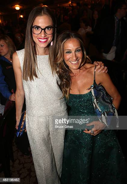 Allison Williams and Sarah Jessica Parker attend the after party for Hamilton Broadway opening night at Pier 60 on August 6 2015 in New York City