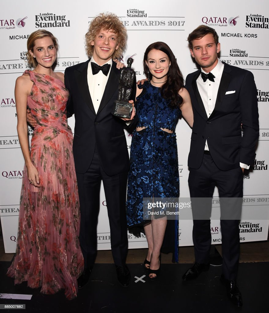 Allison Williams, Andrew Polec, Christina Bennington and Jeremy Irvine pose at the London Evening Standard Theatre Awards 2017 at the Theatre Royal, Drury Lane, on December 3, 2017 in London, England.