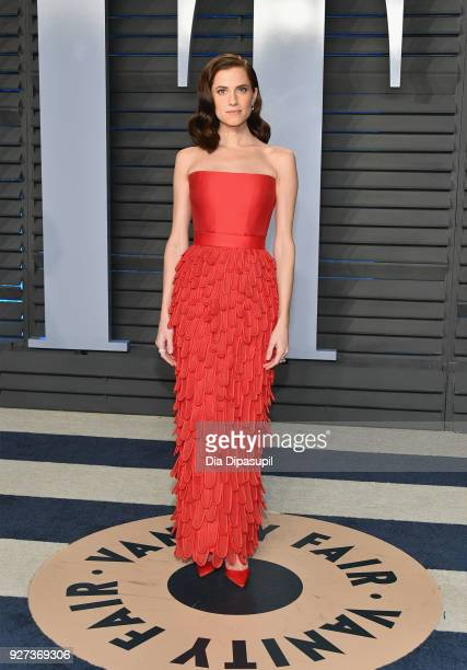 Allison Williams attends the 2018 Vanity Fair Oscar Party hosted by Radhika Jones at Wallis Annenberg Center for the Performing Arts on March 4 2018...
