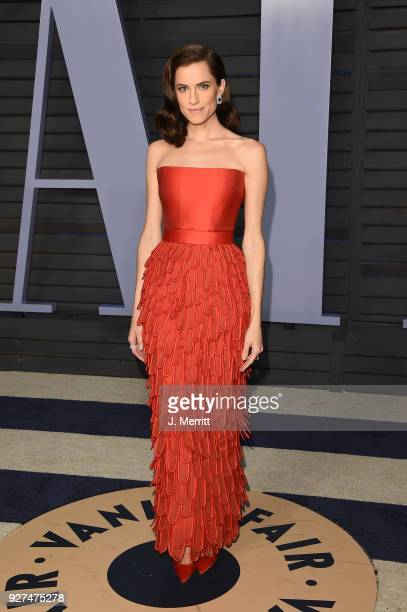 Allison Williams attends the 2018 Vanity Fair Oscar Party hosted by Radhika Jones at the Wallis Annenberg Center for the Performing Arts on March 4,...