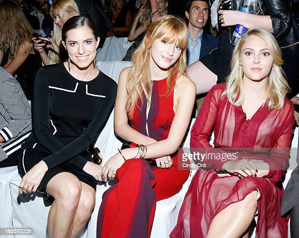 Allison Williams Bella Thorne and AnnaSophia Robb attend the Diane Von Furstenberg fashion show during MercedesBenz Fashion Week Spring 2014 at The...