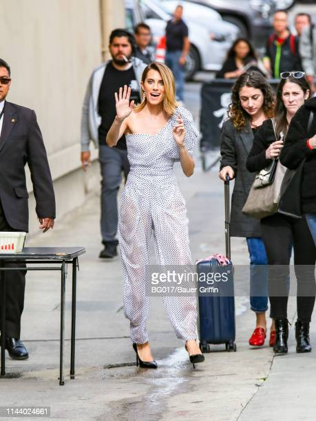 Allison Williams is seen arriving at 'Jimmy Kimmel Live' on May 15, 2019 in Los Angeles, California.