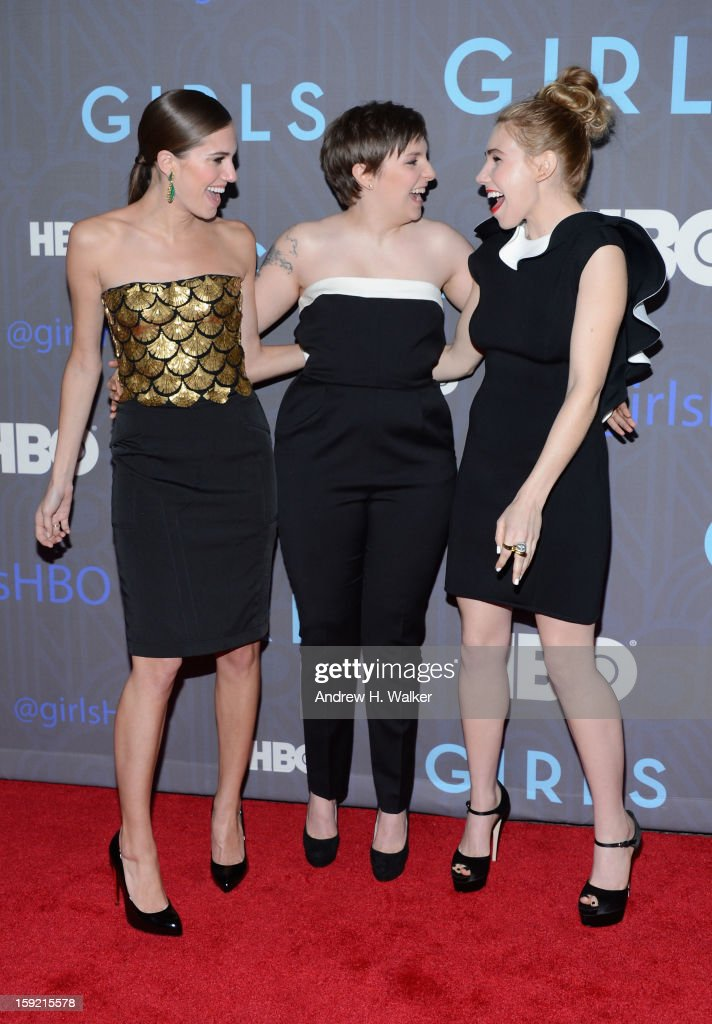 Allison Williams, Lena Dunham, and Zosia Mamet attend the premiere of 'Girls' season 2 hosted by HBO at NYU Skirball Center on January 9, 2013 in New York City.