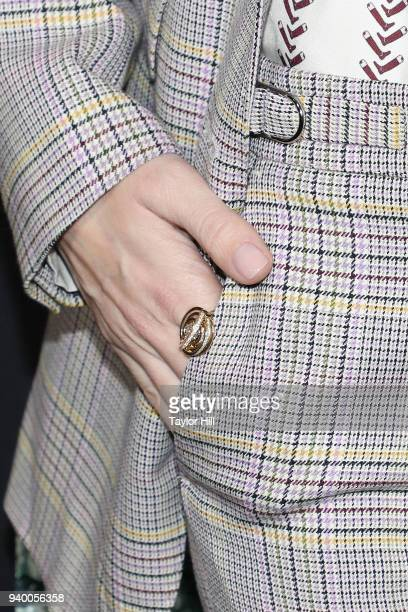 Allison Williams ring detail attends the the Season 2 premiere of Netflix's 'A Series Of Unfortunate Events' at Metrograph on March 29 2018 in New...
