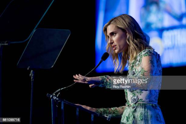 Allison Williams speaks onstage during IFP's 27th Annual Gotham Independent Film Awards at Cipriani Wall Street on November 27 2017 in New York City