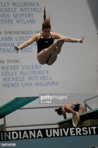 Allisson Fitzgerald of Denison competes in the 3 meter springboard during the Division III Men's and Women's Swimming Diving Championships held at...