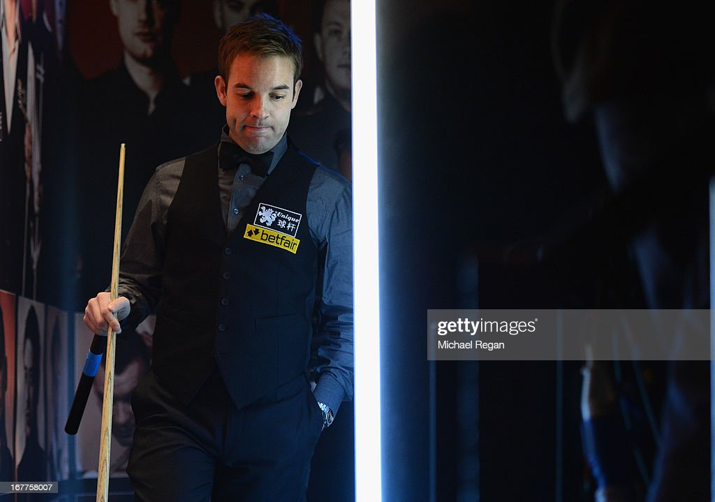 Allister Carter of England walks backstage before his match against Ronnie O'Sullivan of England during the Betfair World Snooker Championship at the Crucible Theatre on April 29, 2013 in Sheffield, England.
