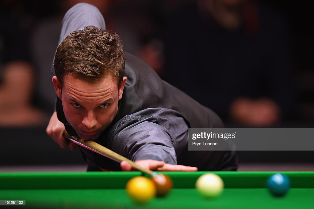 Allister Carter of Great Britain in action during his quarter-final match against Neil Robertson of Australia on Day Five of the 2015 Dafabet Masters at Alexandra Palace on January 15, 2015 in London, England.