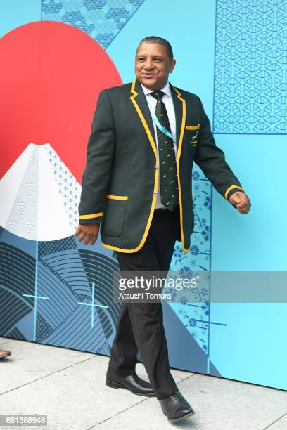 Allister Coetzee head coach of South Africa arrives to the Kyoto State Guest House during the Rugby World Cup Pool Draw on May 10 2017 in Kyoto Japan