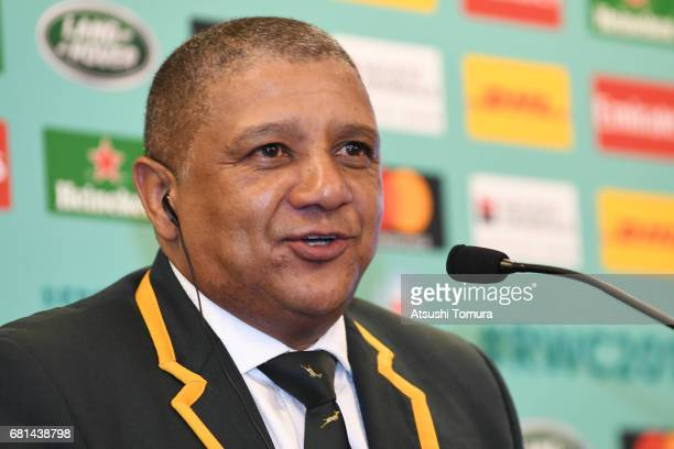 Allister Coetzee head coach of South Africa attends a press conference after the Rugby World Cup Pool Draw at the Kyoto State Guest House on May 10...