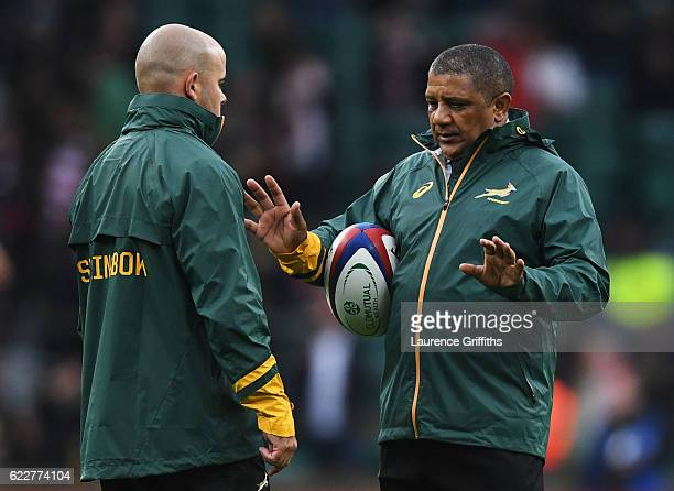 Allister Coetzee the head coach of South Africa is in discussion prior to the Old Mutual Wealth Series match between England and South Africa at...