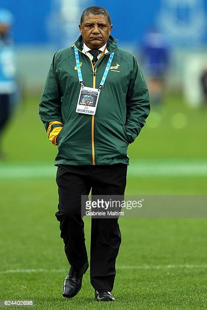 Allister Coetzee the South Africa Springbok coach looks on during the international match between Italy v South Africa at Stadio Olimpico on November...