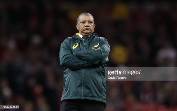 Allister Coetzee the South Africa Springboks coach looks on in the warm up during the rugby union international match between Wales and South Africa...