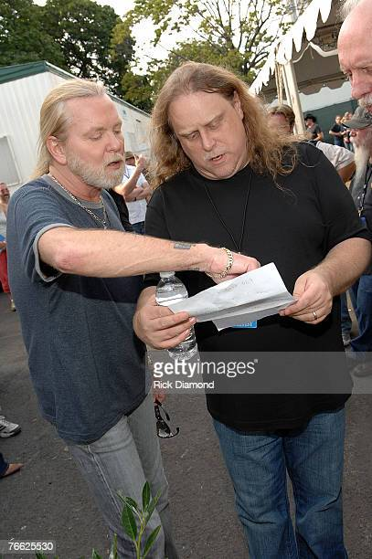 Allman Brother Members Gregg Allman and Warren Haynes Backstage at Farm Aid 2007 AT ICAHN Stadium on Randall's Island NY September 92007