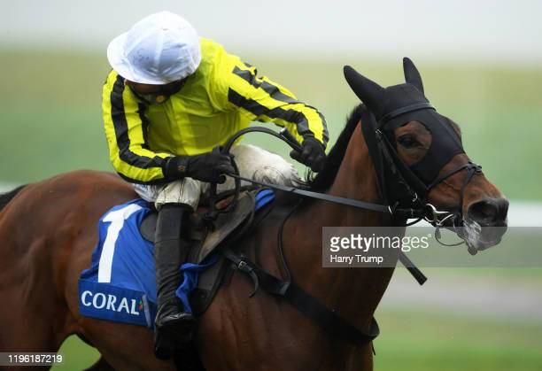 Allmankind ridden by Harry Skelton on their way to winning the Coral Finale Juvenile Hurdle at Chepstow Racecourse on December 27, 2019 in Chepstow,...