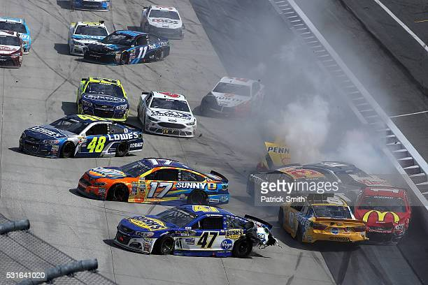 Allmendinger, driver of the Bush's Beans Chevrolet, Ricky Stenhouse Jr, driver of the SunnyD Ford, Kyle Busch, driver of the Pedigree Toyota, Jamie...