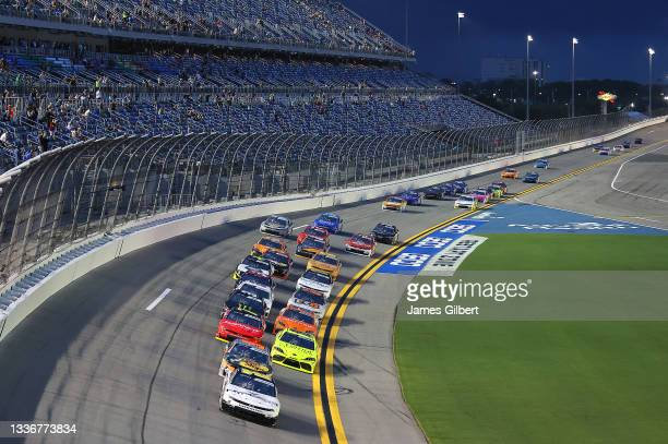 Allmendinger, driver of the Hyperice Chevrolet, leads the field to start the NASCAR Xfinity Series Wawa 250 at Daytona International Speedway on...