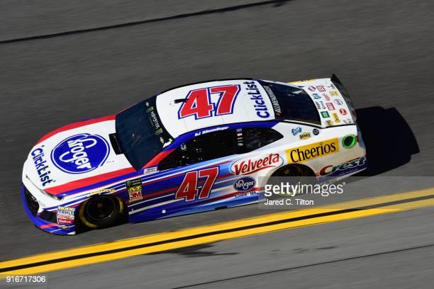 Allmendinger driver of the Kroger ClickList Chevrolet drives during practice for the Monster Energy NASCAR Cup Series Daytona 500 at Daytona...