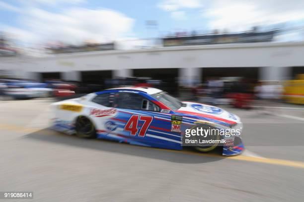 Allmendinger driver of the Kroger ClickList Chevrolet drives through the garage during practice for the Monster Energy NASCAR Cup Series Daytona 500...