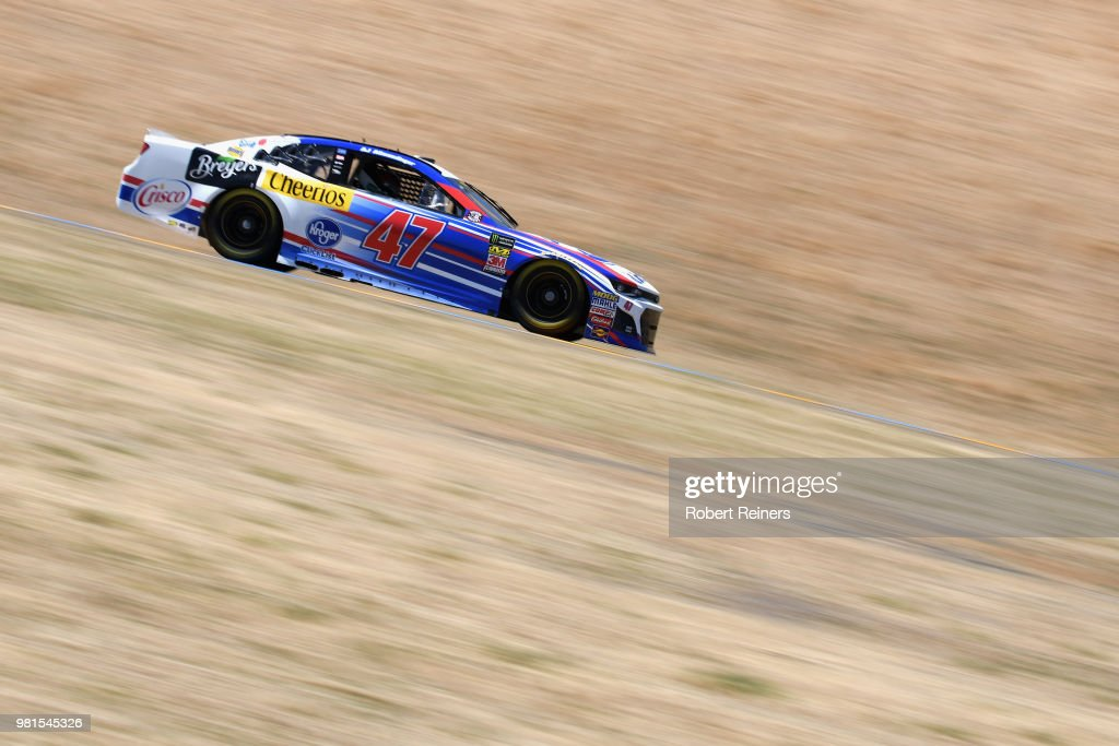 AJ Allmendinger, driver of the #47 Kroger ClickList Chevrolet, practices for the Monster Energy NASCAR Cup Series Toyota/Save Mart 350 at Sonoma Raceway on June 22, 2018 in Sonoma, California.