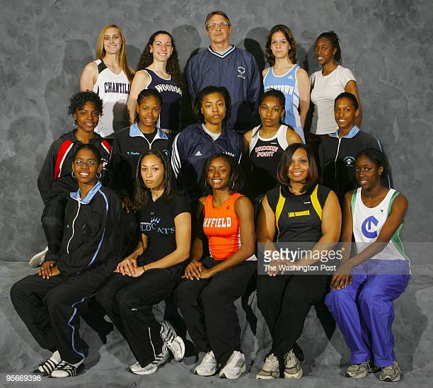 AllMet girls' indoor track team at the Verizon Center on Monday March 27 2006 GIRLS' INDOOR TRACK AND FIELDFront Row Marika Walker Brittni Finch...