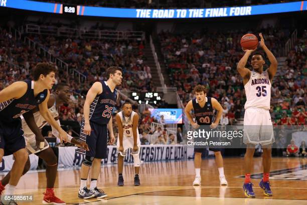 Allonzo Trier of the Arizona Wildcats attempts a free throw against the St Mary's Gaels during the second round of the 2017 NCAA Men's Basketball...