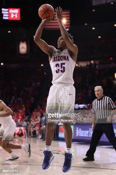 Allonzo Trier of the Arizona Wildcats attempts a shot against the Alabama Crimson Tide during the second half of the college basketball game at...