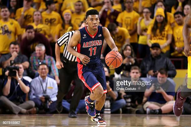 Allonzo Trier of the Arizona Wildcats brings the ball up the court during the first half of the college basketball game at Wells Fargo Arena on...