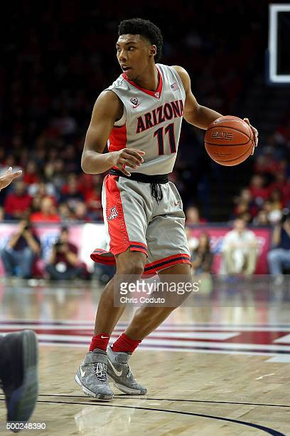 Allonzo Trier of the Arizona Wildcats dribbles the ball during the first half of the college basketball game against the Bradley Braves at McKale...