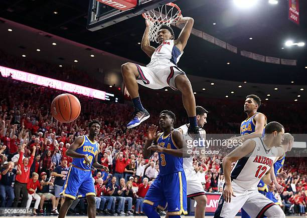 Allonzo Trier of the Arizona Wildcats dunks during the second half of the college basketball game at McKale Center on February 12 2016 in Tucson...