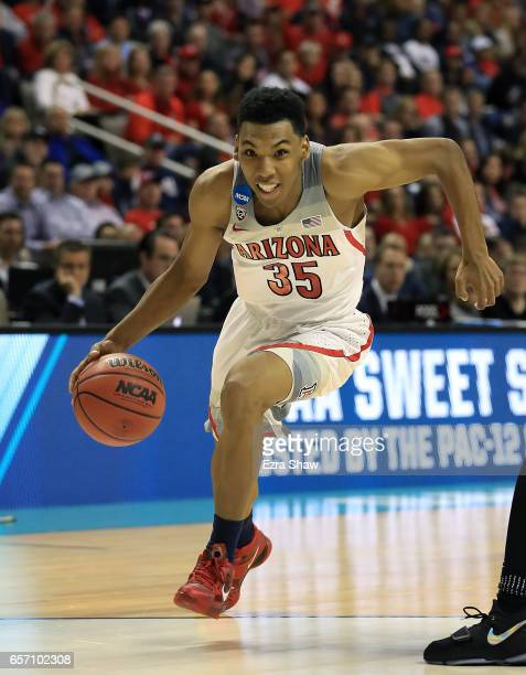 Allonzo Trier of the Arizona Wildcats handles the ball against the Xavier Musketeers during the 2017 NCAA Men's Basketball Tournament West Regional...