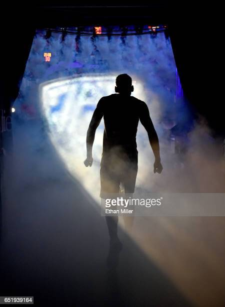 Allonzo Trier of the Arizona Wildcats is introduced before a semifinal game of the Pac12 Basketball Tournament against the UCLA Bruins at TMobile...