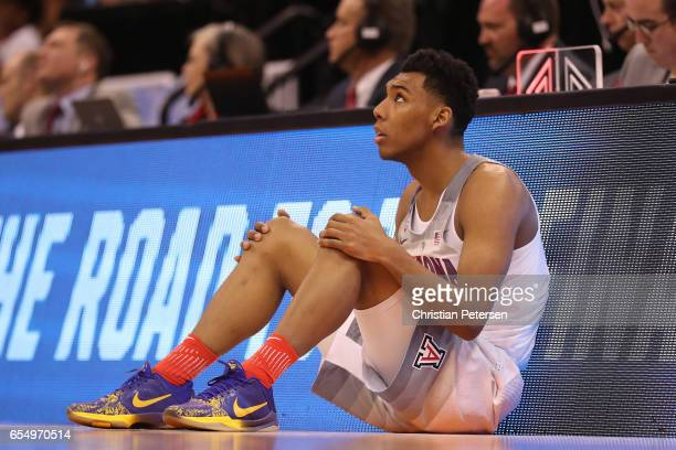 Allonzo Trier of the Arizona Wildcats looks on against the St Mary's Gaels during the second round of the 2017 NCAA Men's Basketball Tournament at...