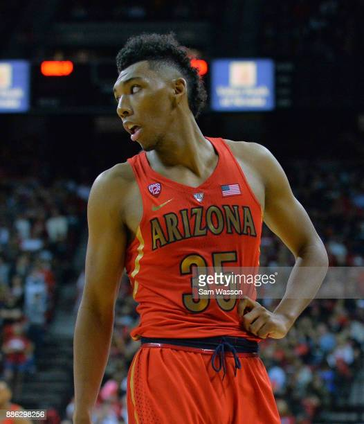 Allonzo Trier of the Arizona Wildcats looks on during his team's game against the UNLV Rebels at the Thomas Mack Center on December 2 2017 in Las...