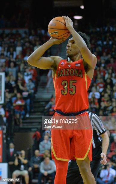 Allonzo Trier of the Arizona Wildcats shoots against the UNLV Rebels during their game at the Thomas Mack Center on December 2 2017 in Las Vegas...