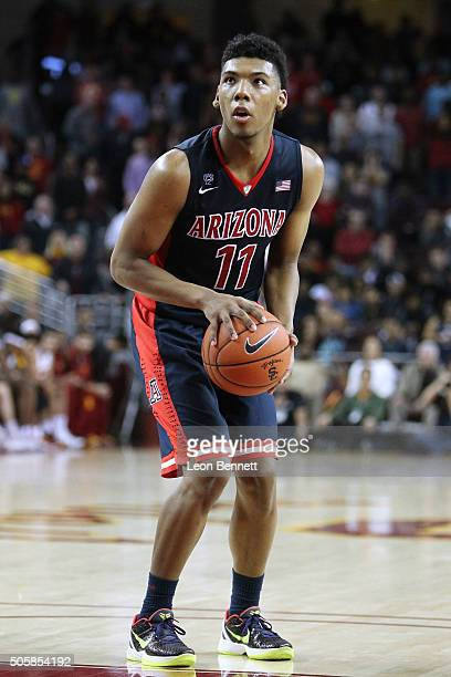 Allonzo Trier of the Arizona Wildcats shoots free throws against the USC Trojans during a NCAA Pac12 college basketball game at Galen Center on...