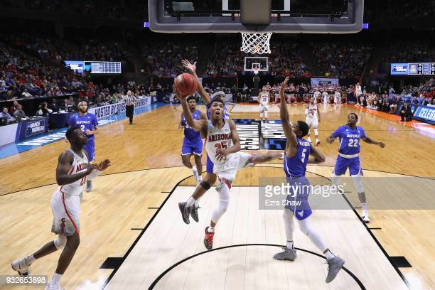 Allonzo Trier of the Arizona Wildcats shoots the ball in the first half against the Buffalo Bulls during the first round of the 2018 NCAA Men's...