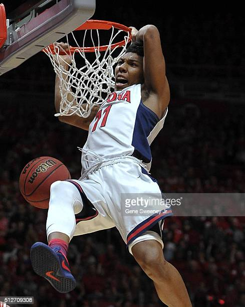Allonzo Trier of the Arizona Wildcats slams in a basket in the second half the Wildcats 7064 loss to the Utah Utes at the Jon M Huntsman Center on...