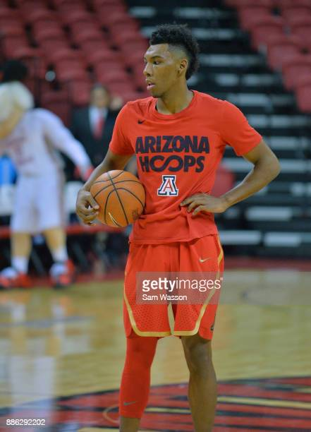 Allonzo Trier of the Arizona Wildcats warms up before his team's game against the UNLV Rebels at the Thomas Mack Center on December 2 2017 in Las...